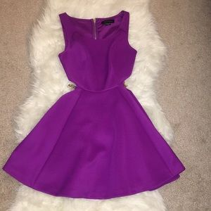 Guess by Marciano purple cutout flared dress XS